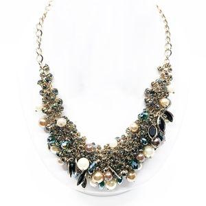 ben amun • rhinestone cluster statement necklace